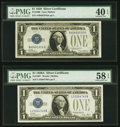 Fr. 1600 $1 1928 Silver Certificate. PMG Extremely Fine 40 EPQ; Fr. 1601 $1 1928A Silver Certificate. PMG Choice About U...