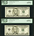 Fr. 1988-L* $5 2001 Federal Reserve Star Notes. Two Consecutive Examples. PCGS Gem New 66PPQ. ... (Total: 2 notes)
