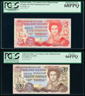 World Currency, Falkland Islands Government of the Falkland Islands 5; 20 Pounds 14.6.1983; 1.10.1984 Pick 12a; 15a PCGS Superb Gem New 68... (Total: 2 notes)