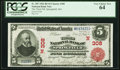 National Bank Notes:Massachusetts, Springfield, MA - $5 1902 Red Seal Fr. 587 The Third National Bank Ch. # (N)308 PCGS Very Choice New 64.. ...