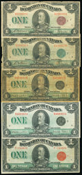 Canada Dominion of Canada Group Lot 5 Examples Good-Very Fine. ... (Total: 5 notes)