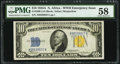 Small Size:World War II Emergency Notes, Fr. 2309 $10 1934A North Africa Silver Certificate. PMG Choice About Unc 58.. ...