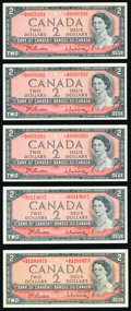 Canada Bank of Canada $2 1954 BC-38bA Five Replacement Examples Crisp Uncirculated. ... (Total: 5 notes)