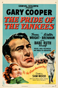 "The Pride of the Yankees (RKO, R-1949). Very Fine+ on Linen. One Sheet (27"" X 41"")"