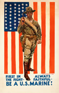 "Movie Posters:War, World War I Propaganda by James Montgomery Flagg (c.1918). Very Fine- on Linen. Recruitment Poster (27"" X 42""). ""First in th..."