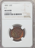1853 1/2 C C-1, B-1, R.1, MS64 Red and Brown NGC. NGC Census: (18/13). PCGS Population: (0/3). MS64. Mintage 129,694...
