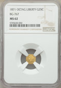 California Fractional Gold , 1871 25C Liberty Head Octagonal 25 Cents, BG-767, R.3, MS62 NGC. NGC Census: (23/11). PCGS Population: (74/44). ...
