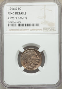 1916-S 5C -- Obverse Cleaned -- NGC Details. Unc. Mintage 11,860,000....(PCGS# 3933)