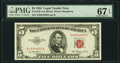 Fr. 1532 $5 1953 Legal Tender Note. PMG Superb Gem Unc 67 EPQ