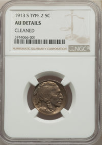 1913-S 5C Type Two -- Cleaned -- NGC Details. AU. Mintage 1,209,000....(PCGS# 3923)
