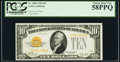 Small Size:Gold Certificates, Fr. 2400 $10 1928 Gold Certificate. PCGS Choice About New 58PPQ.. ...