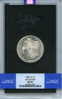 1882-CC $1 GSA MS62 NGC. NGC Census: (2319/19630). PCGS Population: (125/788). CDN: $215 Whsle. Bid for NGC/PCGS MS62...