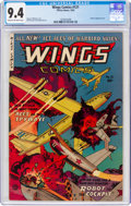 Golden Age (1938-1955):War, Wings Comics #121 (Fiction House, 1953) CGC NM 9.4 Cream to off-white pages....