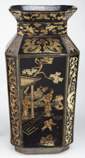 Furniture, A Large Chinese Gilt Lacquer Floor Vase, mid-late 20th century . Marks: Six-character Da Qing Qianlong Nian Zhi and of a lat...