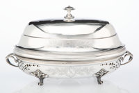 A Three-Piece Christofle Silver-Plated Warmer with Cover, France, late 19th-early 20th century Marks to cover: 60, 5, 2...