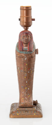 A Louis V. Aronson Egyptian-Revival Mummy Cold Painted Bronze Lamp, New York, circa 1923 Marks: L V Aronson