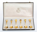 Silver & Vertu, A Set of Six Georg Jensen Gilt Silver and Enamel Spoons with Original Fitted Box, circa 1975. Marks to each: GEORG JENSEN,...