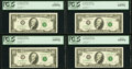 Matching Serial Number 99999113 Fr. 2031-E; F; G; H $10 1995 Federal Reserve Notes PCGS Graded. St. Louis Gem New 65PPQ;...