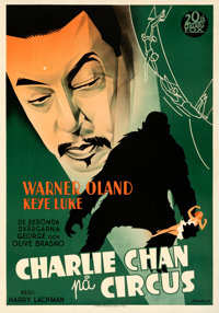 """Charlie Chan at the Circus (20th Century Fox, 1936). Very Fine- on Linen. Swedish One Sheet (27.5"""" X 39.5""""). E..."""