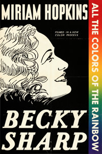 """Becky Sharp (RKO, 1935). Folded, Fine+. Leader Press One Sheet (27.25"""" X 41""""). From the Mike Kaplan Collection..."""