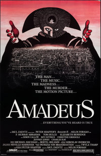 "Amadeus (Orion, 1984). Rolled, Very Fine+. One Sheet (25.75"" X 40""). Drama"