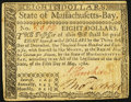 Massachusetts May 5, 1780 $8 Contemporary Counterfeit Very Fine