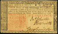 New Jersey March 25, 1776 6s Very Fine