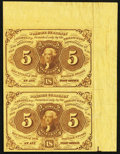 Fr. 1230 5¢ First Issue Uncut Vertical Pair Extremely Fine-About New