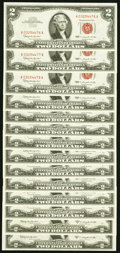 Fr. 1513 $2 1963 Legal Tender Notes Fourteen Examples Choice Crisp Uncirculated or Better. ... (Total: 14 notes)