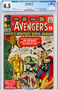 Silver Age (1956-1969):Superhero, The Avengers #1 (Marvel, 1963) CGC VG+ 4.5 Off-white to white pages....