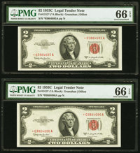 Fr. 1512* $2 1953C Legal Tender Star Notes. Two Consecutive Examples. PMG Gem Uncirculated 66 EPQ. ... (Total: 2 notes)