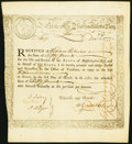 State of Massachusetts Treasury Certificate £50 6% Interest per Annum Dec. 1, 1777 Anderson MA-10 Very Fine