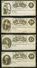 Obsoletes By State:Michigan, Linden, MI- Jacob and Jarrid Hyatt 5¢; 10¢; 25¢; 50¢ Dec. 24-25, 1862 Lee UNL Extremely Fine or Better.. ... (Total: 4 notes)