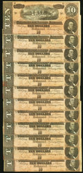Confederate Notes:1864 Issues, T68 $10 1864 Twelve Examples Extremely Fine or Better.. ... (Total: 12 notes)