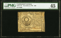 Continental Currency November 2, 1776 $30 PMG Choice Extremely Fine 45