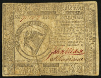 Continental Currency November 29, 1775 $8 Very Good-Fine