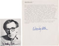 Movie/TV Memorabilia:Autographs and Signed Items, Woody Allen Signed Postcard and One-Page Biography. ...
