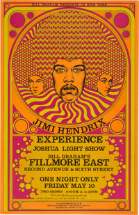 Jimi Hendrix 1968 Fillmore East Concert Poster FE-7, Very First One Printed & Signed in '68 (AOR-2.90)
