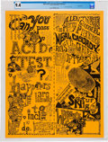 Music Memorabilia:Posters, Grateful Dead 1965 Can You Pass the Acid Test? Rare Poster CGC-Graded 9.4 (AOR 2.4)....