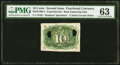 Fr. 1249 10¢ Second Issue Milton 2E10R.4 Experimental PMG Choice Uncirculated 63