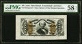 Fractional Currency:Third Issue, Fr. 1324SP 50¢ Third Issue Spinner Wide Margin Face PMG Choice About Unc 58 EPQ.. ...