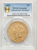 Liberty Double Eagles: , 1858 $20 -- Altered Surfaces -- PCGS Genuine. XF Details. Mintage 211,714. ...