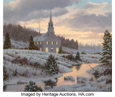 James Fetherolf (American, 1925-1994) Christmas Eve Oil on canvas 11 x 14 inches (27.9 x 35.6 cm) Signed lower right...