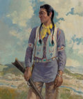 Paintings, Frederic Kimball Mizen (American, 1888-1964). Chief Blackfoot. Oil on canvas. 35 x 30 inches (88.9 x 76.2 cm). Signed an...