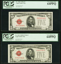 Small Size:Legal Tender Notes, Fr. 1530 $5 1928E Legal Tender Note. PCGS Very Choice New 64PPQ;. Fr. 1531 $5 1928F Legal Tender Note. PCGS Very Choice Ne... (Total: 2 notes)