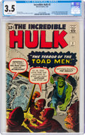 Silver Age (1956-1969):Superhero, The Incredible Hulk #2 (Marvel, 1962) CGC VG- 3.5 White pages....