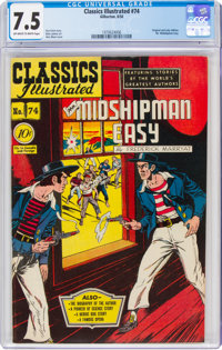 Classics Illustrated #74 Mr. Midshipman Easy - First Edition (Gilberton, 1950) CGC VF- 7.5 Off-white to white pages