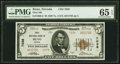 National Bank Notes:Nevada, Reno, NV - $5 1929 Ty. 2 First National Bank Ch. # 7038 PMG Gem Uncirculated 65 EPQ.. ...