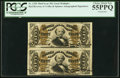Fractional Currency:Third Issue, Fr. 1328 50¢ Third Issue Spinner Vertical Pair PCGS Choice About New 55PPQ.. ...