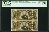 Fr. 1328 50¢ Third Issue Spinner Vertical Pair PCGS Choice About New 55PPQ